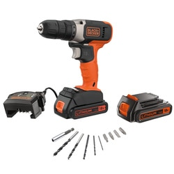 Black and Decker - 18V 2x 15Ah Schroefboormachine met lader en 10 accessoires in Koffer - BCD001KBA10