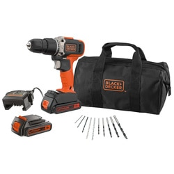 Black and Decker - 18V 2x 15Ah Schroefklopboormachine met lader en 10 accessoires in een softbag - BCD003BA10S