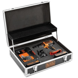 Black and Decker - 18V 15Ah Schroefklopboormachine met 2 accus en 32delige accessoireset in flight case - BDCHD18B2FC