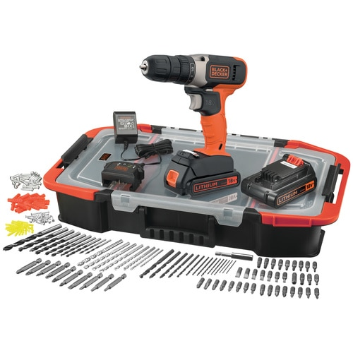 Black and Decker - 18V Schroefboormachine met 2 accus lader en 160 accessoires in een ClickConnect organiser - BCD001BAST