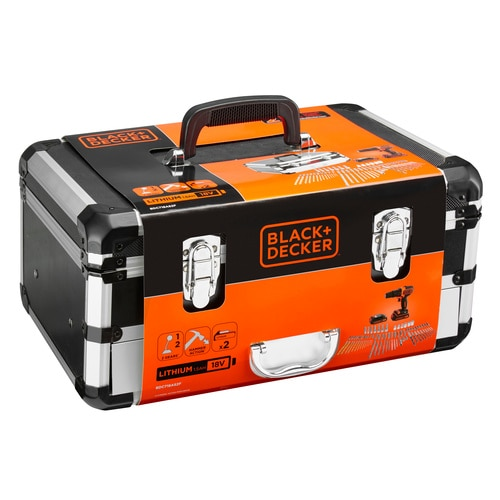 Black and Decker - 18V Schroefklopboormachines met 2 accus en 80 accessoires in flightcase - BDC718AS2F