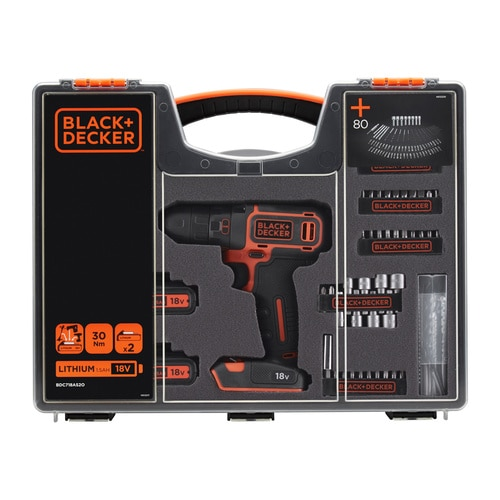 Black and Decker - 18V Schroefboormachine lader 2 accus 80 accessoires en organiser - BDC718AS2O