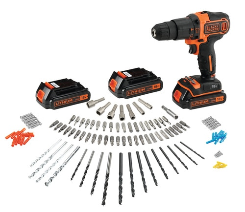 Black and Decker - 18V accklopboormachine met 2 snelheden  3 accus  lader  120 accessoires in kluskoffer - BDCHD181B3A