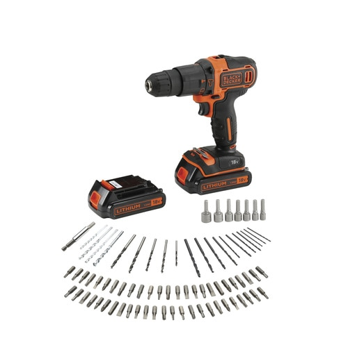Black and Decker - 18V Lithium Accu klopboormachine met 2 snelheden  lader  koffer  2 accus - BDCHD18BAFC