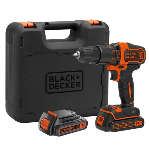 Black and Decker - 18V Lithium Accu klopboormachine met 2 snelheden  lader  koffer  2 accus - BDCHD18KB
