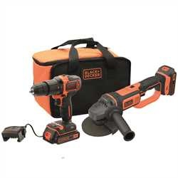 Black and Decker - 18V Accuklopboormachine  18V haakse slijper met 2x 20Ah accus 1x 1A lader en opbergtas - BCK24D2S