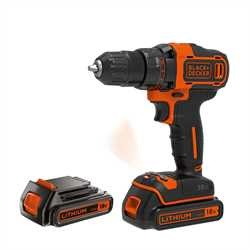 Black and Decker - 18V Schroefboormachine met 2 snelheden lader 2 accus in koffer - BDCDD186KB