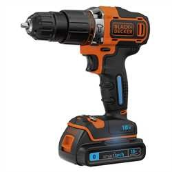 Black and Decker - 18V Lithiumion Smarttech klopboormachine met 2 snelheden  lader  koffer  2 accus - BDCHD18KST