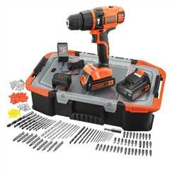 Black and Decker - 18V Lithium Ion accu schroefboormachine met 2 accus 160 accessoires in organiser - EGBL188BAST
