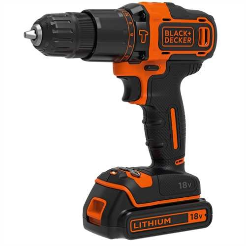 Black and Decker - 18V Lithium Accu klopboormachine met 2 snelheden  lader  koffer  1 accu - BDCHD18K